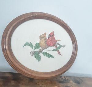 Vintage Robins Needlepoint in Wood Frame
